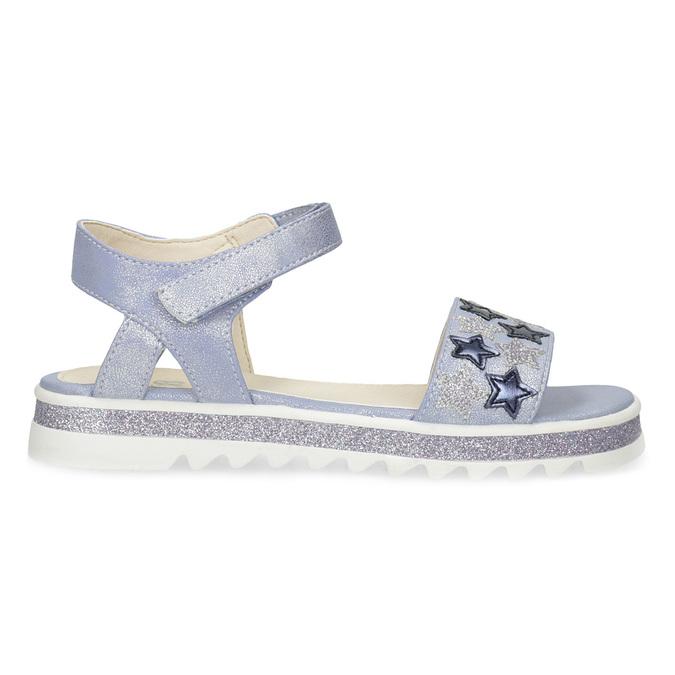 Modré dívčí sandály s hvězdičkami mini-b, modrá, 361-9172 - 19