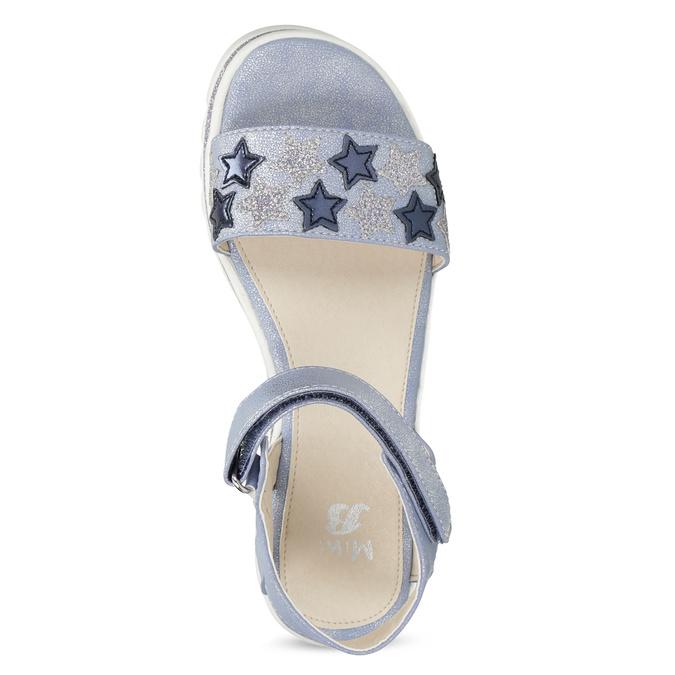 Modré dívčí sandály s hvězdičkami mini-b, modrá, 361-9172 - 17