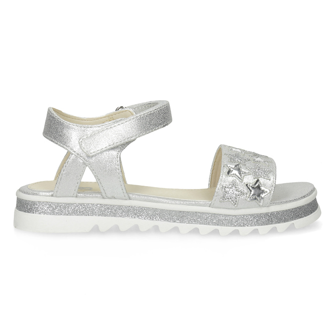 Stříbrné dívčí sandály s hvězdičkami mini-b, stříbrná, 361-1172 - 19