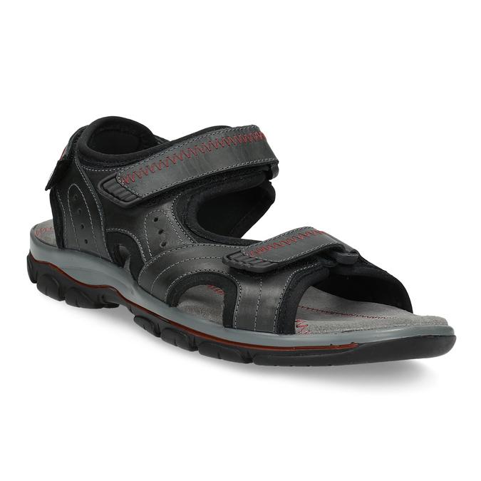 Pánské kožené sandály na suchý zip černé weinbrenner, černá, 866-6635 - 13