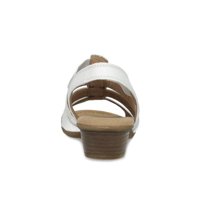 Bílé kožené sandály šíře G gabor, bílá, 666-1338 - 15