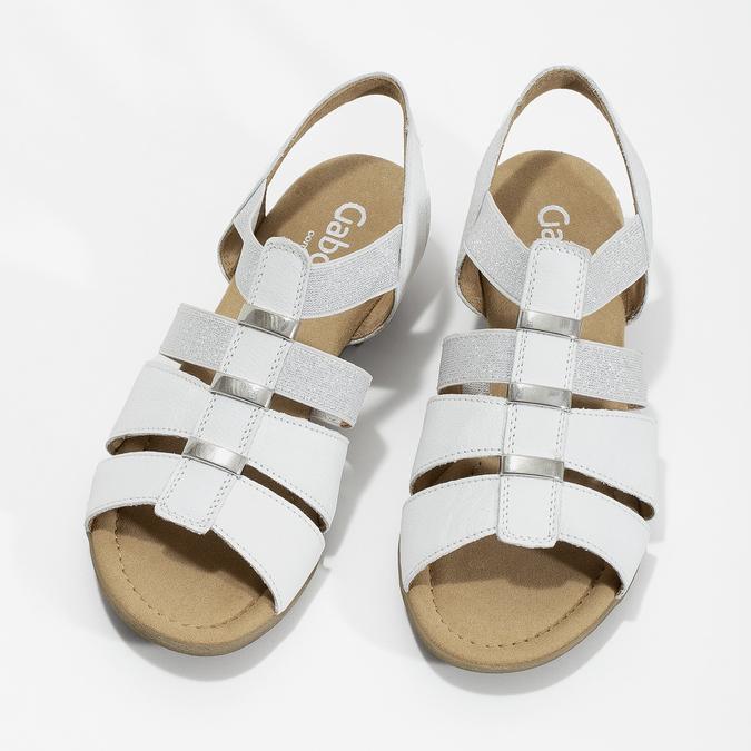 Bílé kožené sandály šíře G gabor, bílá, 666-1338 - 16