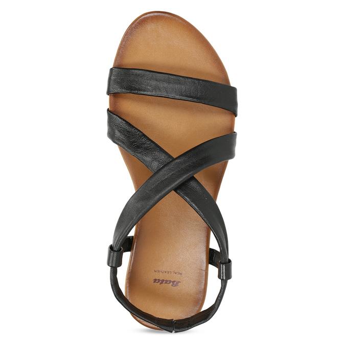 Černé kožené sandály dámské bata, černá, 566-6635 - 17