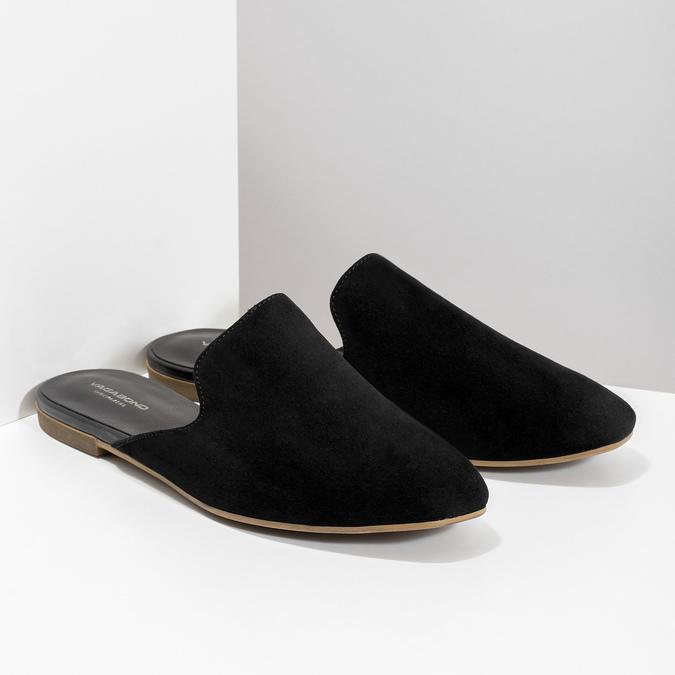 Pantofle z broušené kůže černé vagabond, černá, 573-6004 - 26
