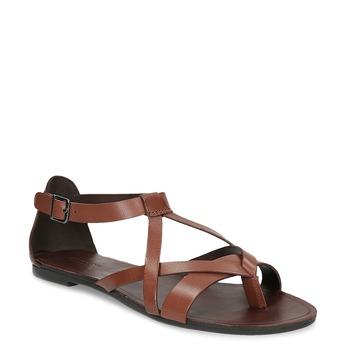 Hnědé kožené sandály s pásky mezi prsty vagabond, hnědá, 564-4017 - 13