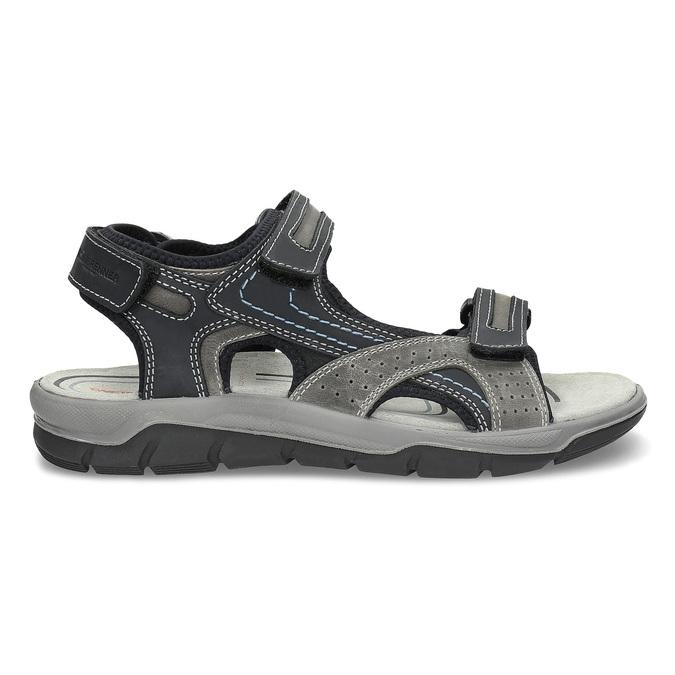 Pánské kožené sandály na suché zipy weinbrenner, šedá, 866-2642 - 19