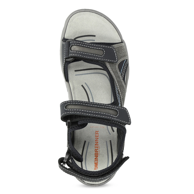Pánské kožené sandály na suché zipy weinbrenner, šedá, 866-2642 - 17