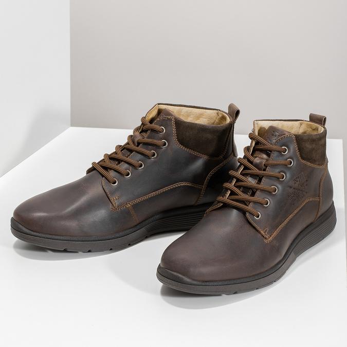 Pánská kožená kotníčková obuv s prošitím bata, hnědá, 846-4645 - 16