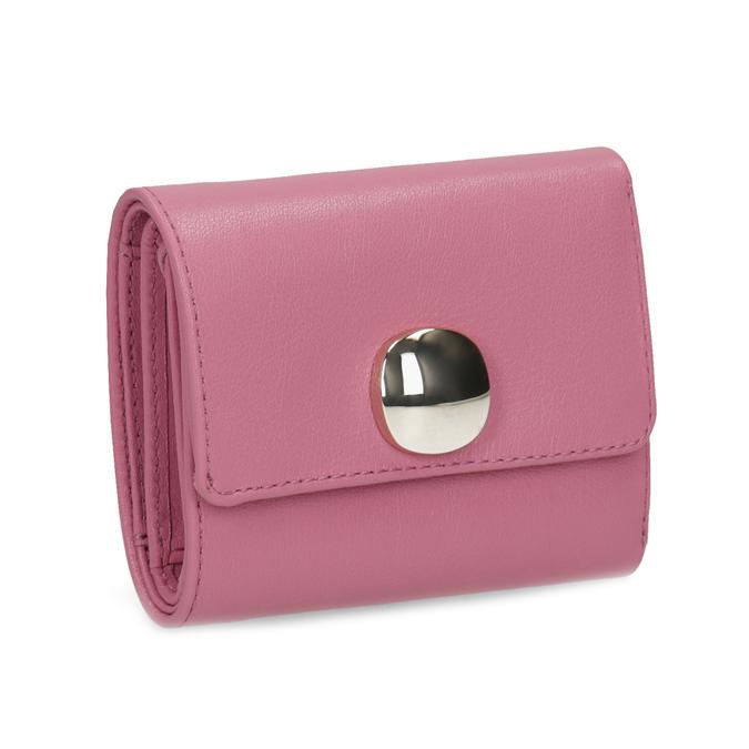 Růžová kožená peněženka se zlatým zapínáním vagabond, růžová, 966-5063 - 13