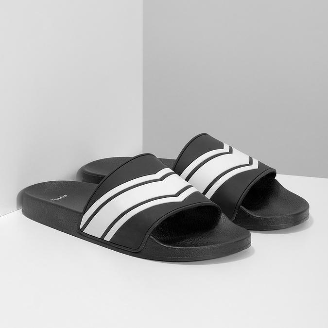 Pánské nazouváky černo-bílé bata, černá, 861-1601 - 26