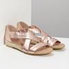 Dámské rose gold sandály na klínku bata, zlatá, 566-5649 - 26