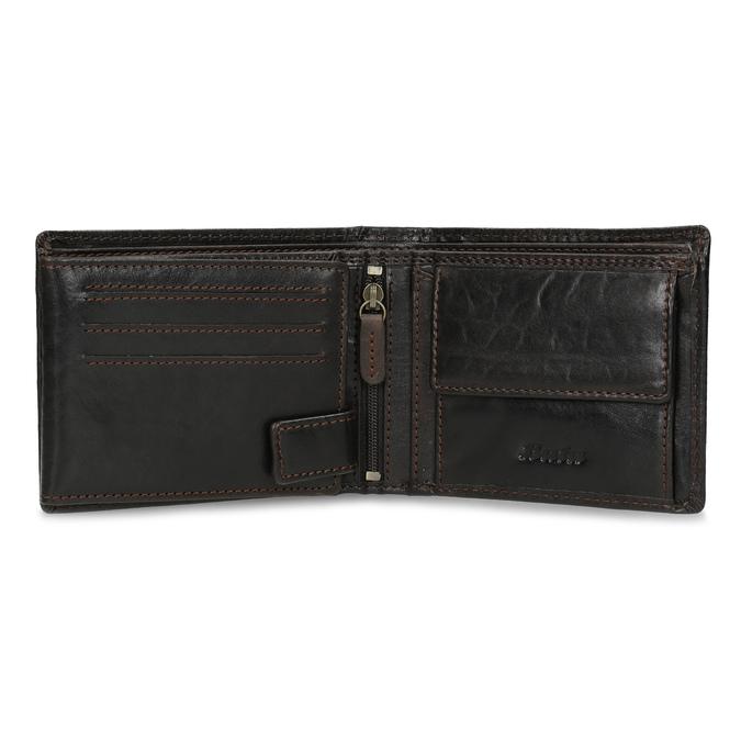 Tmavě hnědá pánská kožená peněženka bata, hnědá, 944-4229 - 15