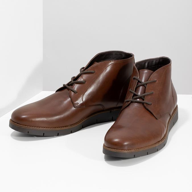 Pánské kožené hnědé Chukka Boots flexible, hnědá, 826-4972 - 16