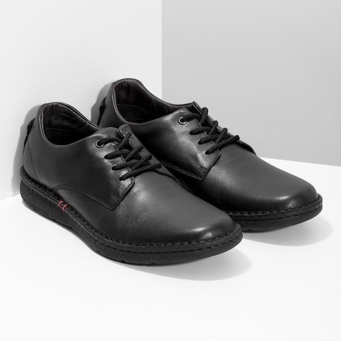 Pánské černé kožené ležérní polobotky bata, černá, 824-6630 - 26
