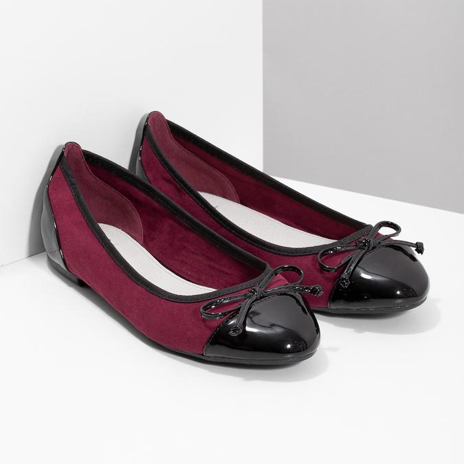 Vínové baleríny s lakovanou špicí a patou bata, červená, 529-5640 - 26