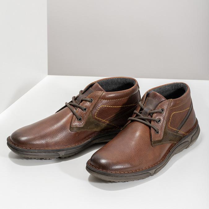 Kožená pánská kotníčková obuv bata, hnědá, 846-4718 - 16