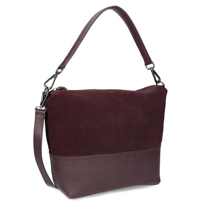 Vínová kožená Hobo kabelka s popruhem bata, červená, 963-5600 - 13