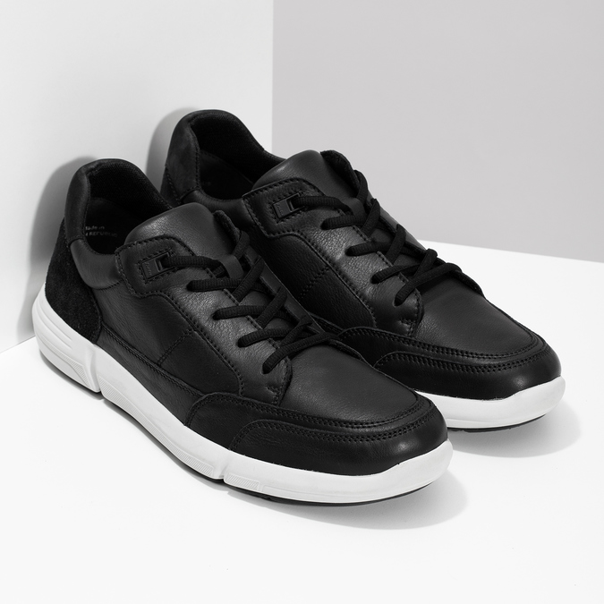 Černé pánské tenisky s prošitím bata-light, černá, 844-6647 - 26