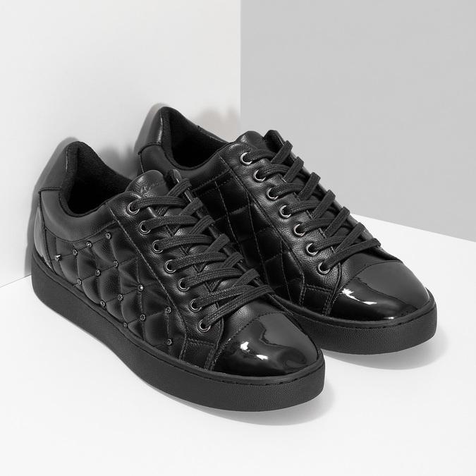Dámské prošívané tenisky černé bata-light, černá, 541-6603 - 26