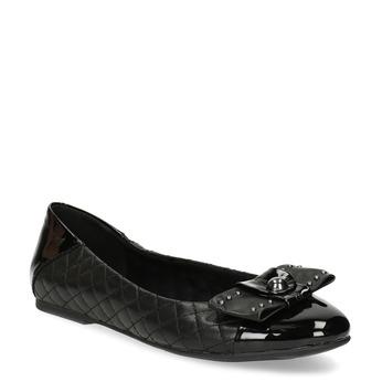 Černé kožené baleríny s mašlí a prošíváním bata, černá, 524-6667 - 13