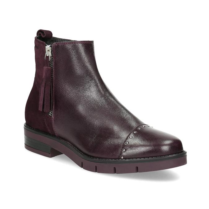 Kožené kotníčková obuv se střapci flexible, červená, 596-5696 - 13