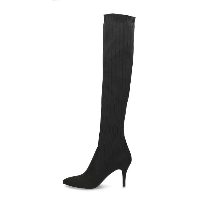 Černé ponožkové kozačky na jehlovém podpatku bata, černá, 799-6639 - 17