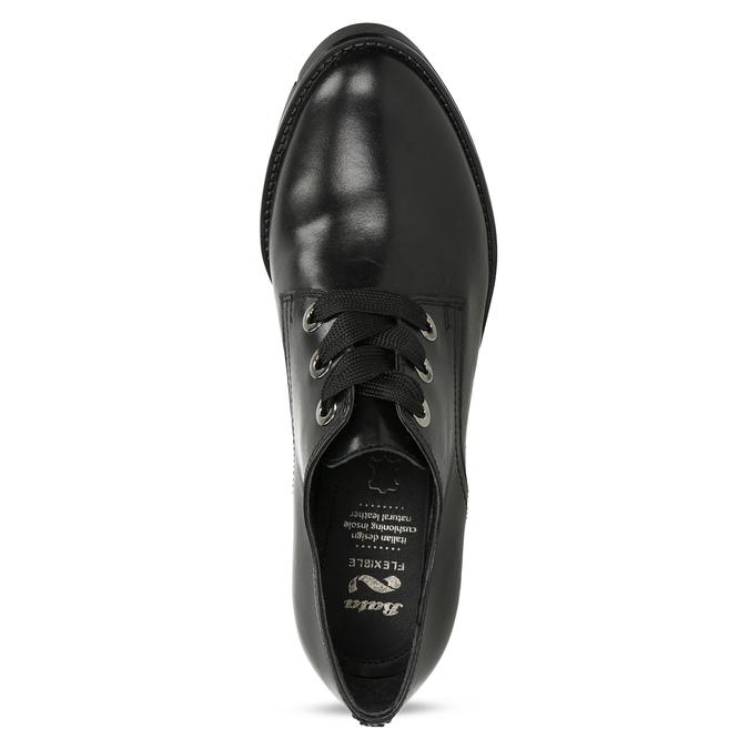 Dámské kožené polobotky černé flexible, černá, 524-6662 - 17