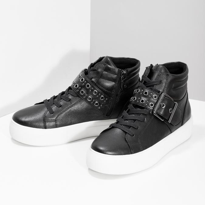 Dámské kotníčkové tenisky černé bata-light, černá, 591-6630 - 16