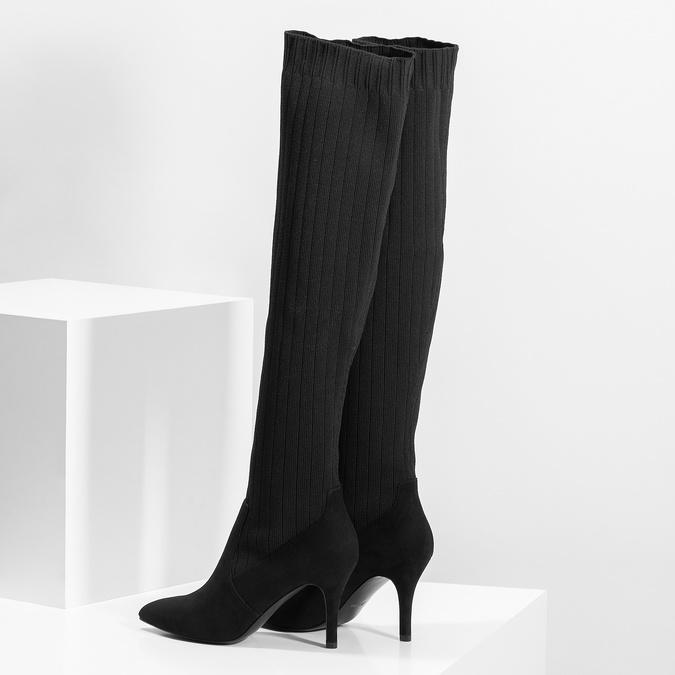 Černé ponožkové kozačky na jehlovém podpatku bata, černá, 799-6639 - 16