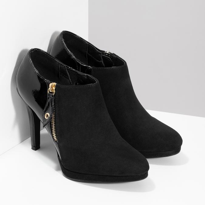 Dámská kotníčková obuv na jehlovém podpatku insolia, černá, 799-6637 - 26
