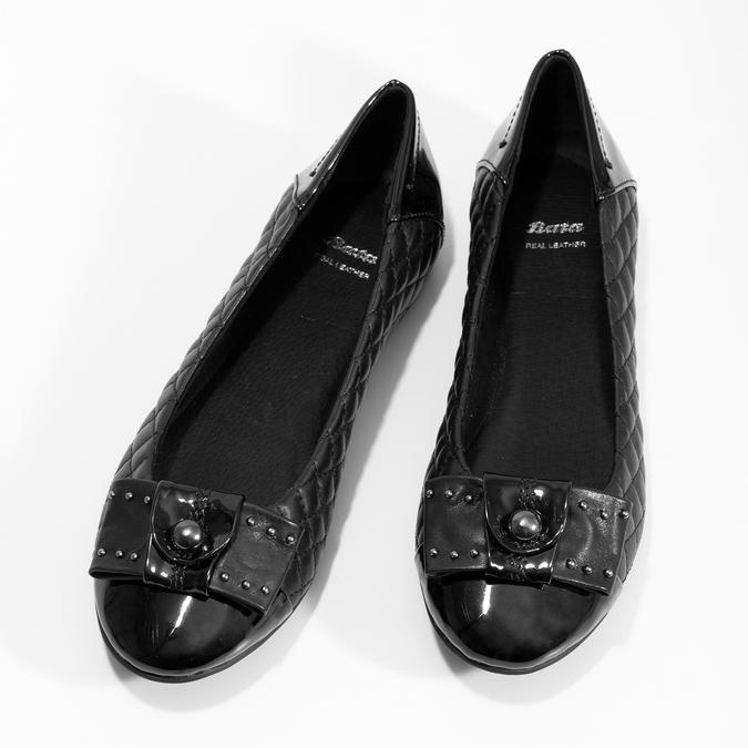 Černé kožené baleríny s mašlí a prošíváním bata, černá, 524-6667 - 16