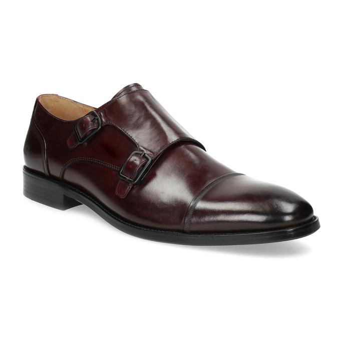 Pánské kožené Monk Shoes polobotky bata, červená, 826-5738 - 13