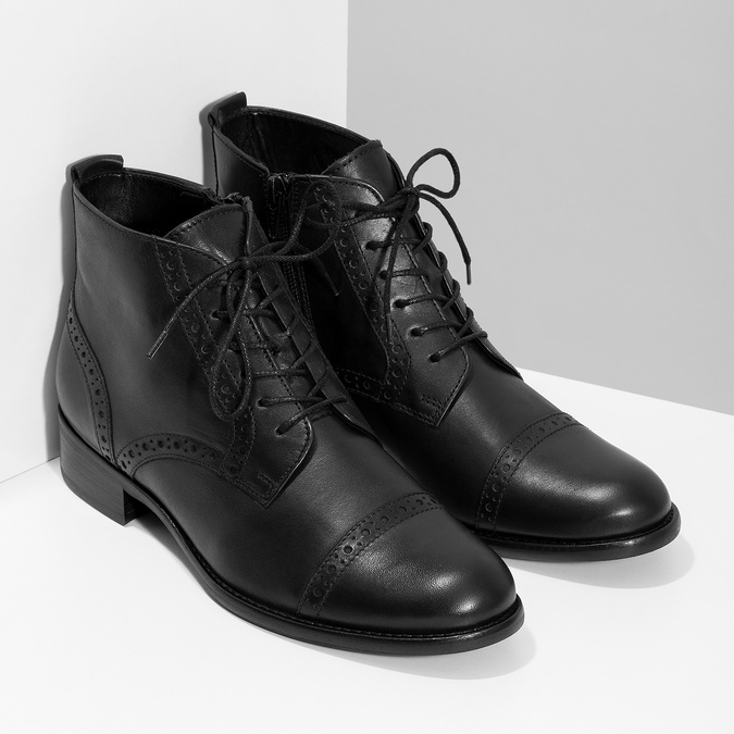 Kotníčková dámská obuv s Brogue zdobením gabor, černá, 624-6031 - 26