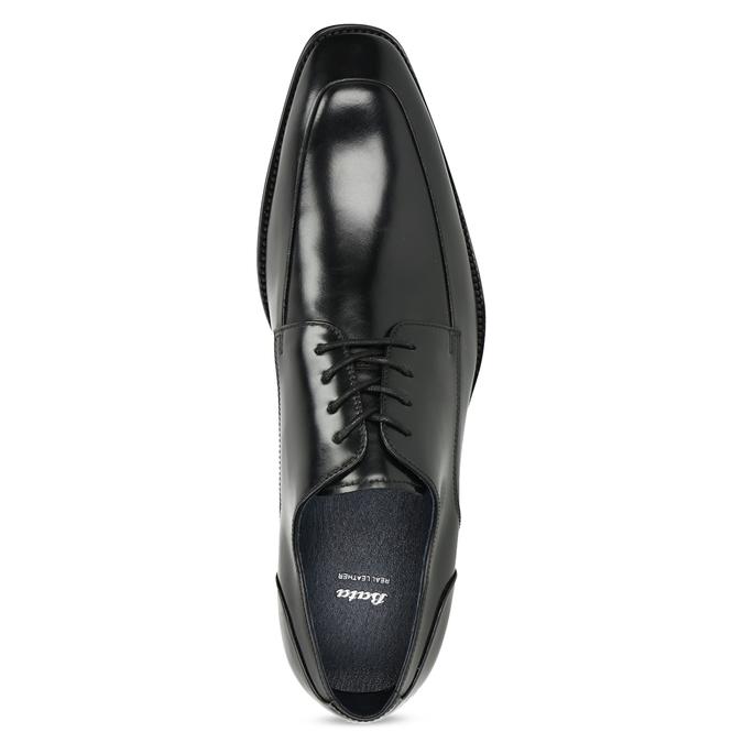 Černé kožené polobotky v Derby stylu bata, černá, 824-6784 - 17
