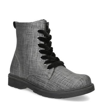 Kotníčková dětská obuv se sametovými tkaničkami mini-b, šedá, 321-6620 - 13