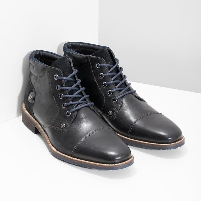 Kotníčková pánská kožená obuv bata, černá, 826-6611 - 26