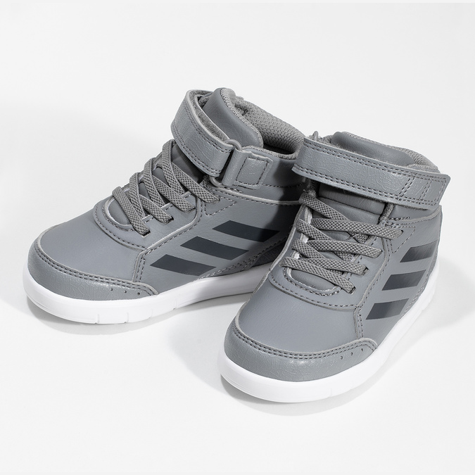 Šedé kotníčkové dětské tenisky na suchý zip adidas, šedá, 101-2220 - 16