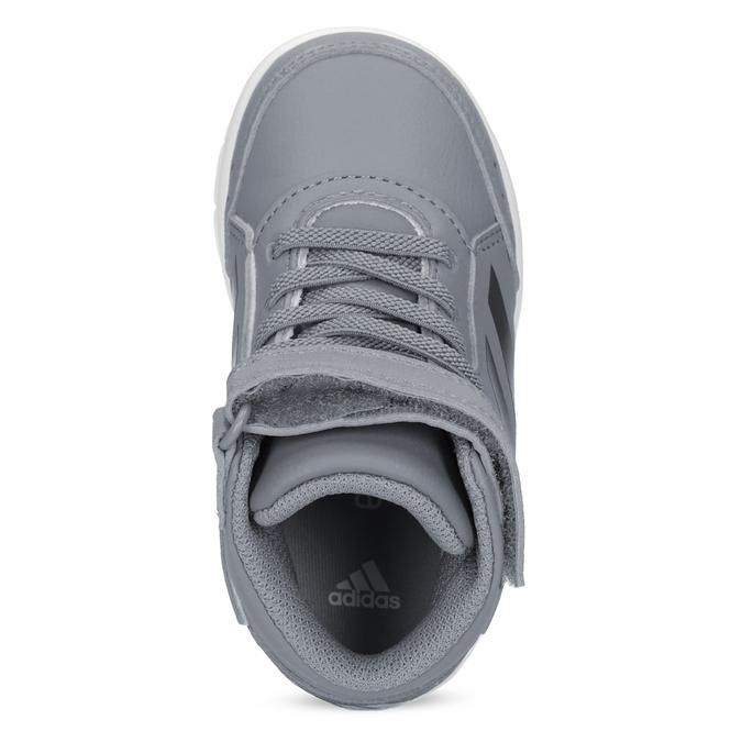 Šedé kotníčkové dětské tenisky na suchý zip adidas, šedá, 101-2220 - 17