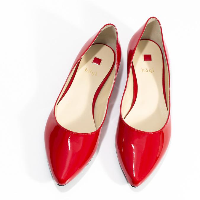 Červené kožené dámské baleríny s lakováním hogl, červená, 528-5066 - 16