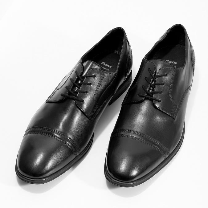 Pánské černé kožené Derby polobotky bata, černá, 824-6891 - 16