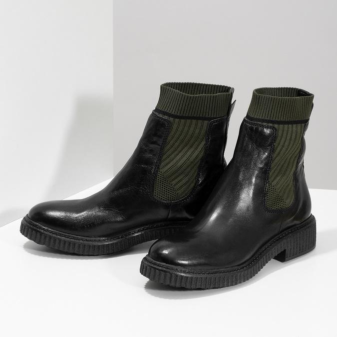 Ponožkové kožené kozačky v Chelsea stylu bata, černá, 596-6721 - 16