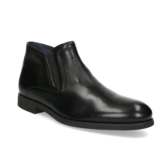 Kožená kotníčková pánská obuv s prošitím bata, černá, 824-6621 - 13