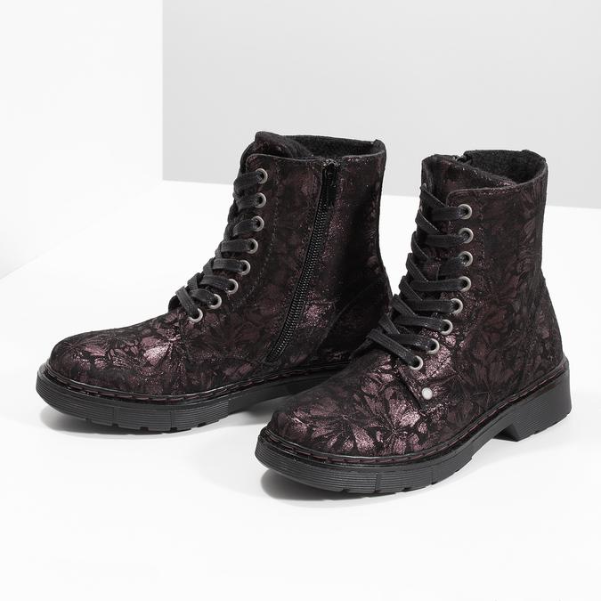 Kotníčková kožená dětská obuv se vzorem mini-b, hnědá, 426-4560 - 16
