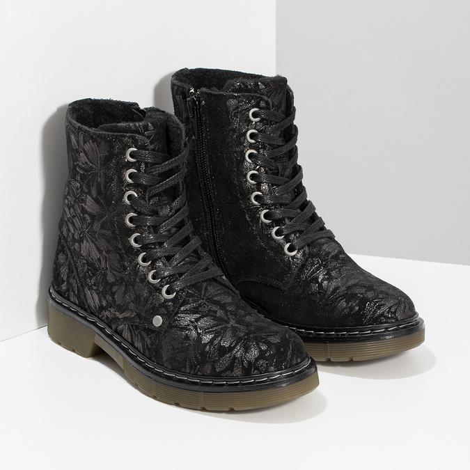 Dětská kožená kotníčková obuv se vzorem mini-b, černá, 426-2560 - 26