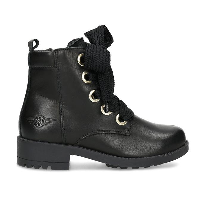 Kožená kotníčková dětská obuv mini-b, černá, 424-6600 - 19