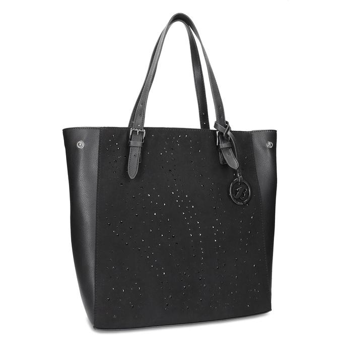 Černá kabelka ve stylu Tote s kamínky bata, černá, 969-6875 - 13