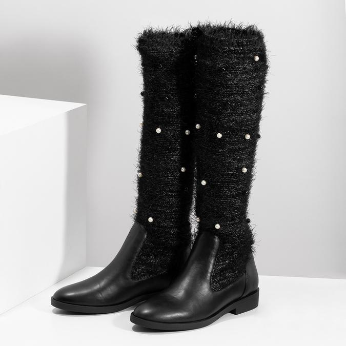 Černé kozačky s perličkami bata, černá, 599-6619 - 16
