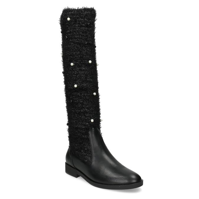 Černé kozačky s perličkami bata, černá, 599-6619 - 13