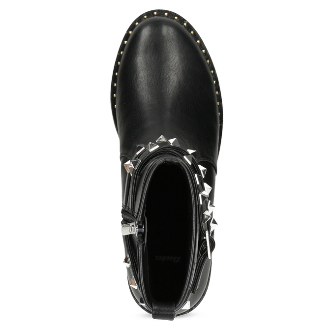 Černé dámské kozačky s kovovými cvoky bata, černá, 591-6633 - 17