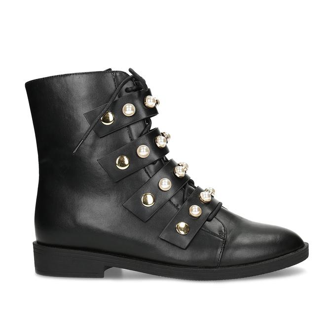 Vysoká kotníčková obuv s perličkami bata, černá, 591-6634 - 19